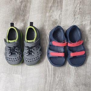2 pairs 8T Crocs sandals